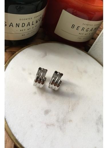 My Joyas Design Birleşik Üç Sıra Küçük Boy Küpe Gümüş